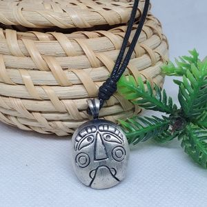 N131 Face Pendant Leather Cord Necklace